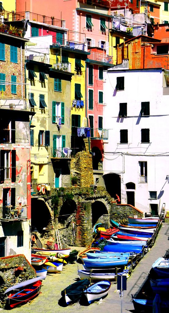Fishing boats in Riomaggiore (Cinque Terre) Italy