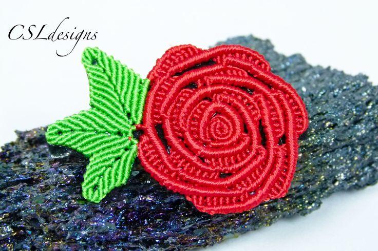 Micro macrame rose   Valentines