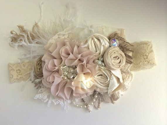 New for Fall 2014. Tea Time by Avry Couture Creations is great headbands for your hair bow collection. Soft neutrals with feathers,