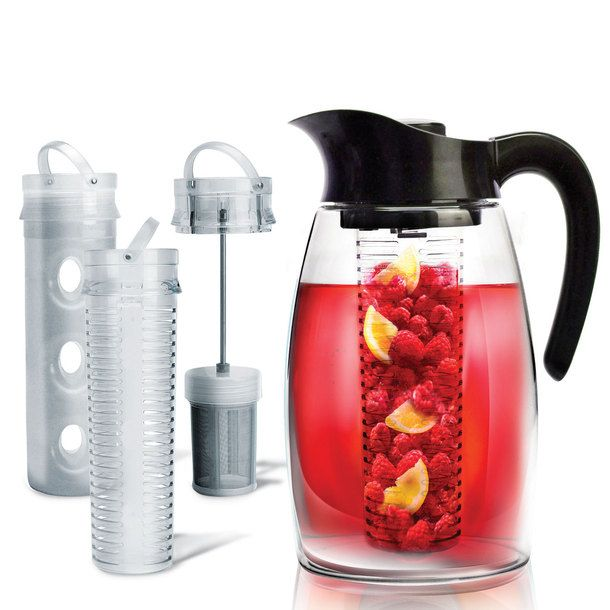 I'm thinking I need one! Flavor-It Infusion Pitcher: Make anything from iced tea to mojitos to regular water that's infused with lavender, fruit, or mint. Includes a tea infuser and fruit infuser, as well as a cooling core. $25.00