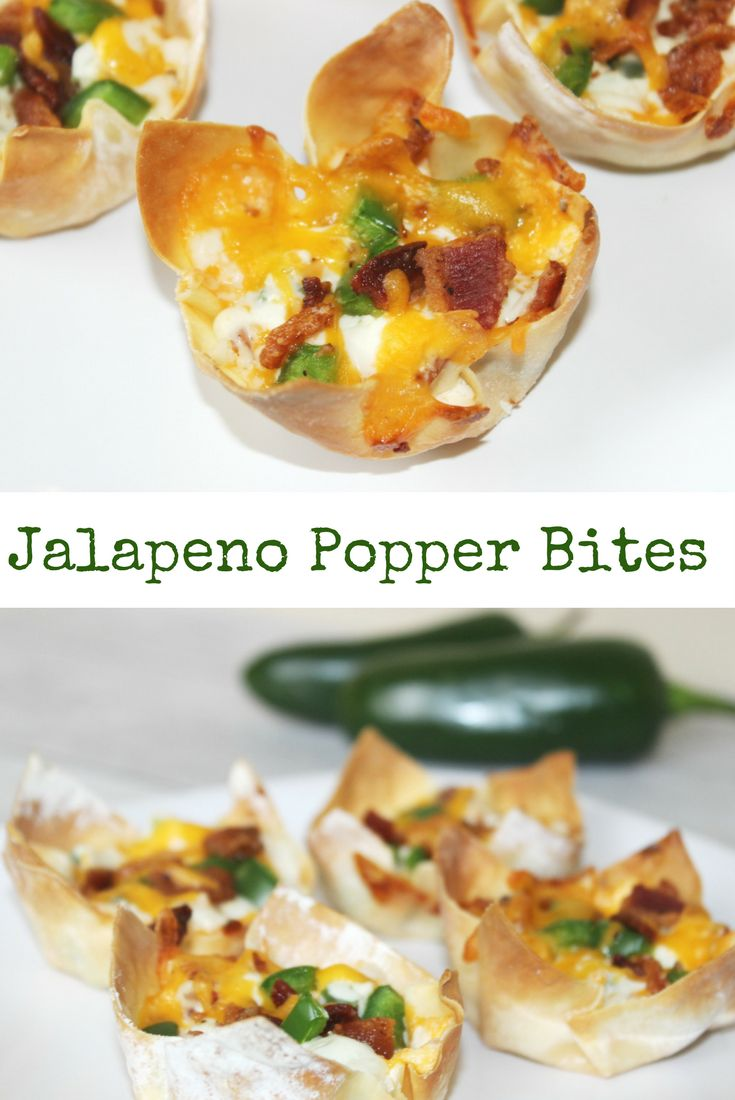 Easy jalapeno popper bites with Egg Roll Wrappers or wonton cups- Jalapeno Popper Bites Appetizer Recipe. Bacon, Cheese and the right amount of spice! You'll love these Jalapeno Popper Bites. They made a great appetizer to a holiday party.