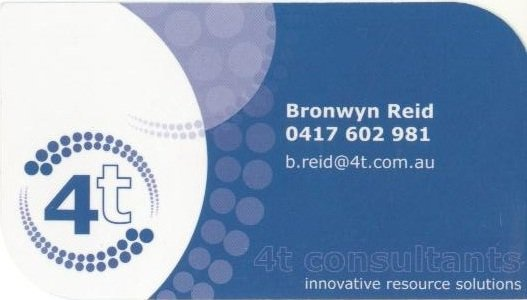 4T consultants are environmental consultants in Emerald, Central Queensland. They needed to refresh their corporate ID, which was achieved through some modifications to their logo, and capped off by a round of new business cards.
