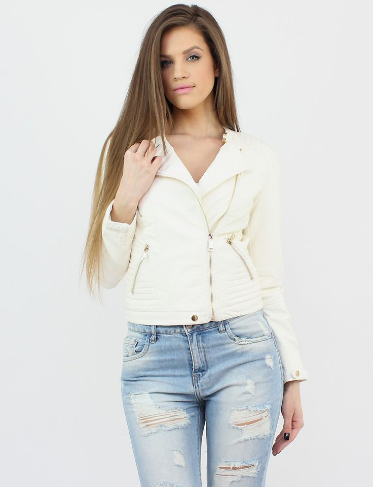 White Faux Leather Jacket- http://famevogue.ro/produse_noi_94/jacheta_alba_imitatie_piele  #shopping #casual #jacket #style #fashion #leather