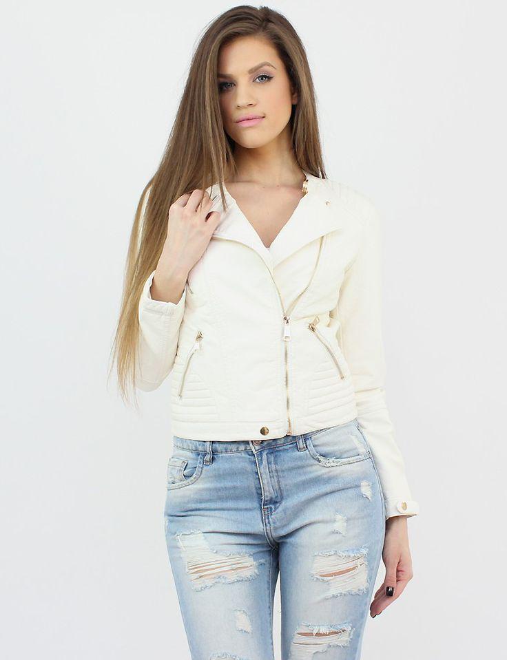 White Faux Leather Jacket- http://famevogue.ro/produse_noi_94/jacheta_alba_imitatie_piele  #shopping #casual #jacket #style #fashion #leather