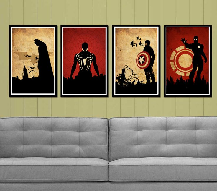 This is actually really cool. Captain America, Batman , Iron Man and Spider-Man Superheroes Poster Set. $50.00, via Etsy.