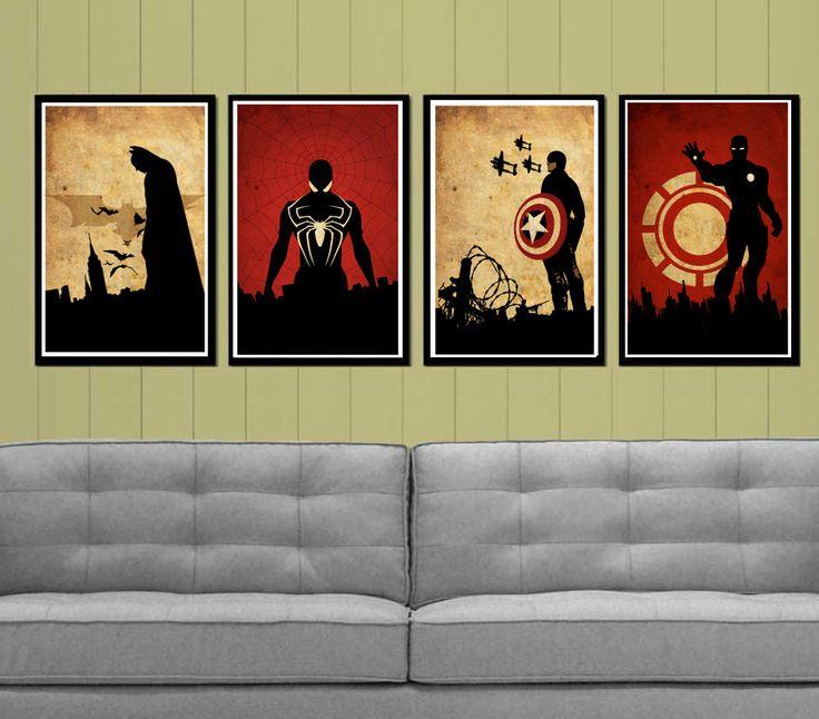 Captain America, Batman , Iron Man and Spider-Man Superheroes Poster Set. $50.00, via Etsy. - Lukes room
