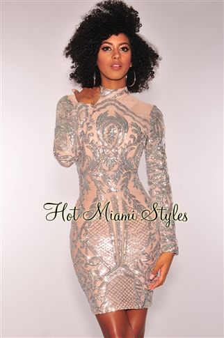 Silver Victorian Sequins Nude Mesh Long Sleeves Dress  4d1b1d504