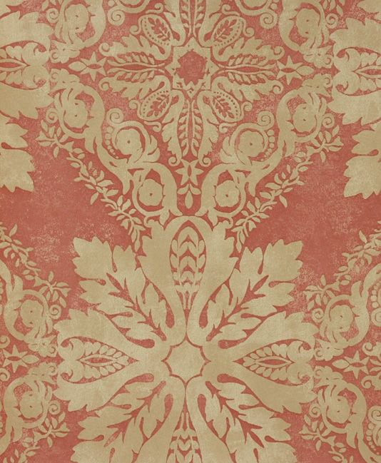 Medevi Wallpaper A beautiful wallpaper inspired by eighteenth century Swedish design, of a classic leaf based pattern in stone on a brick red background