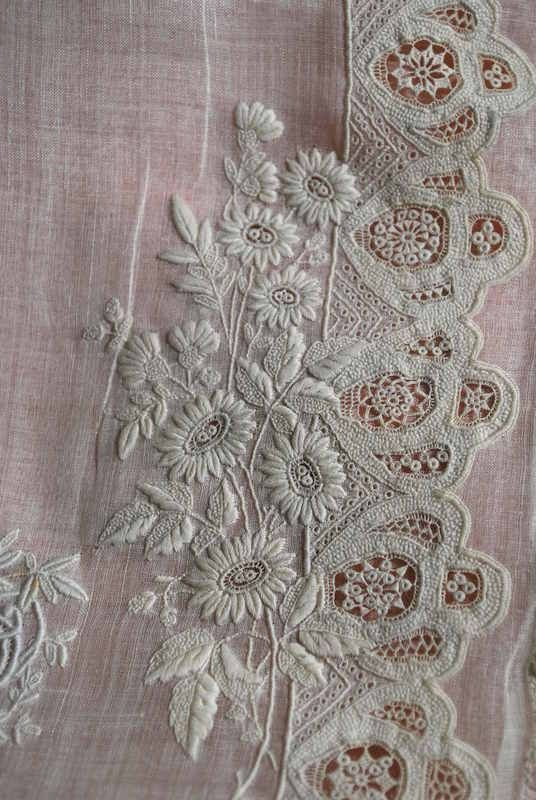 French whitework | Antique Finest Linen French Whitework Embroidered Pillow Case