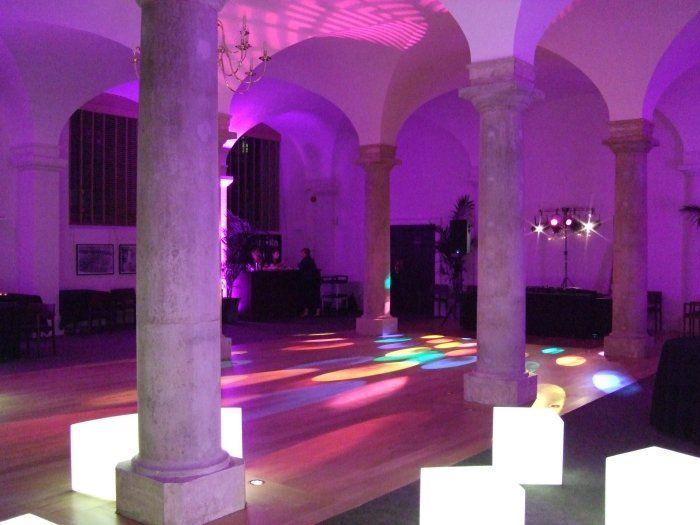 Wall Uplighters In Purple, Acrobat Light Projector, Gobo
