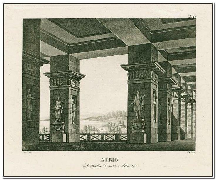 Atrio nel ballo Oreste, atto IV. Stucchi inc. Angeli acq. [after a set design by Sanquirico] [Oreste.] ([1825?])