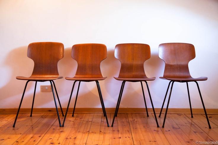 4 vintage TEAK plywood chairs. Italy 50s. €350.00, via Etsy.