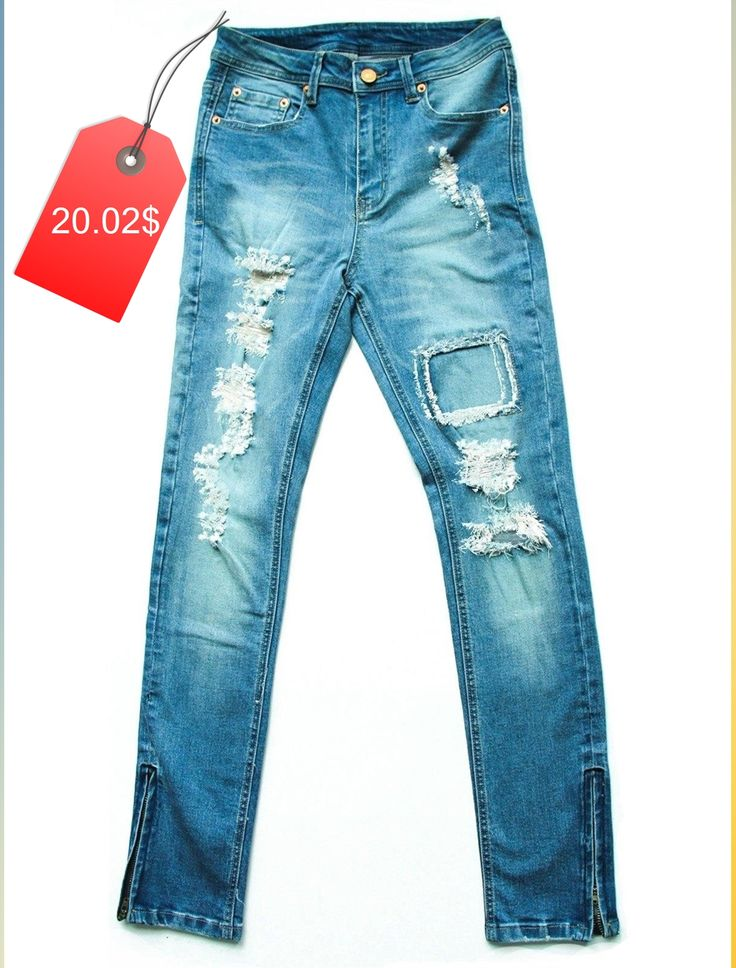 Street Style Bleach Wash Slimming Ripped Jeans For Women