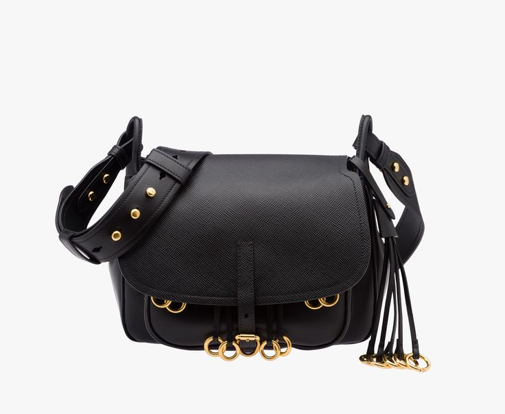 2679a698db7d ... usa prada corsaire calf leather bag leather shoulder strap gold plated  hardware metal lettering logo on