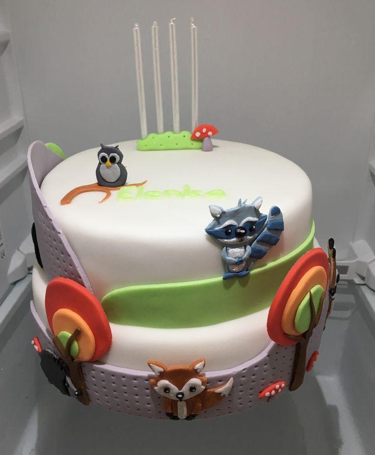 Woodland Animal Cake, dort s lesnimi zviratky