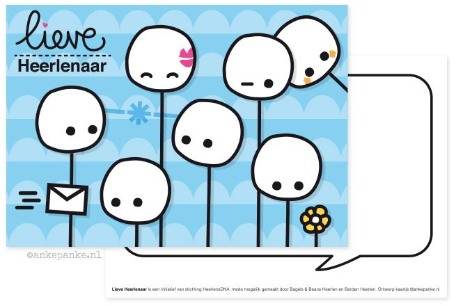 Promotional postcard design for Lieve Heerlenaar (foundation fighting against loneliness) by http://ankepanke.nl