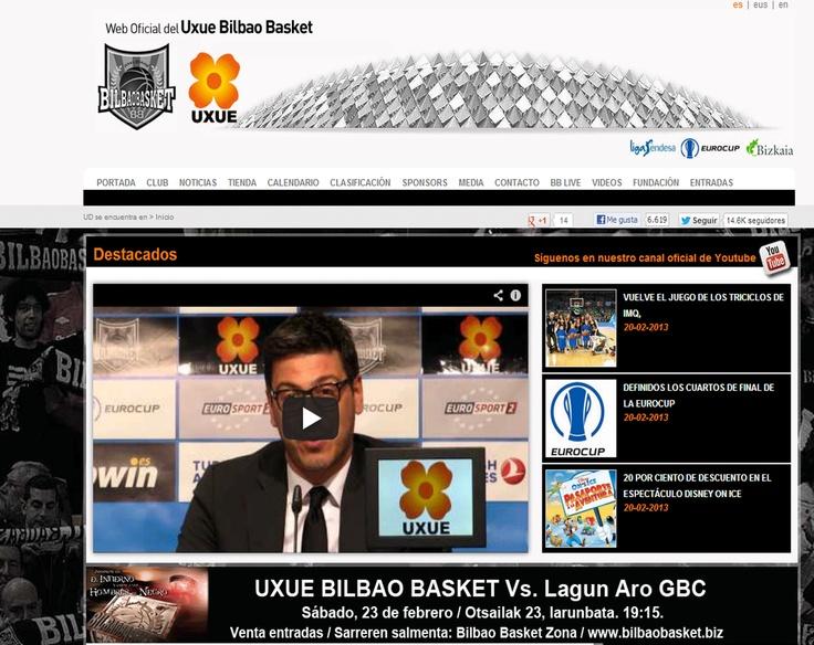 Imagen de la portada de la web de Bilbaobasket.