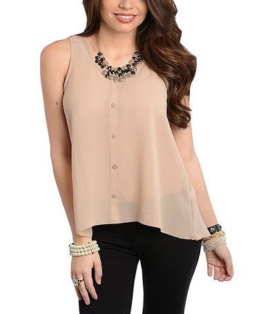 Another great find on #zulily! Tan Swing Button-Up Top #zulilyfinds