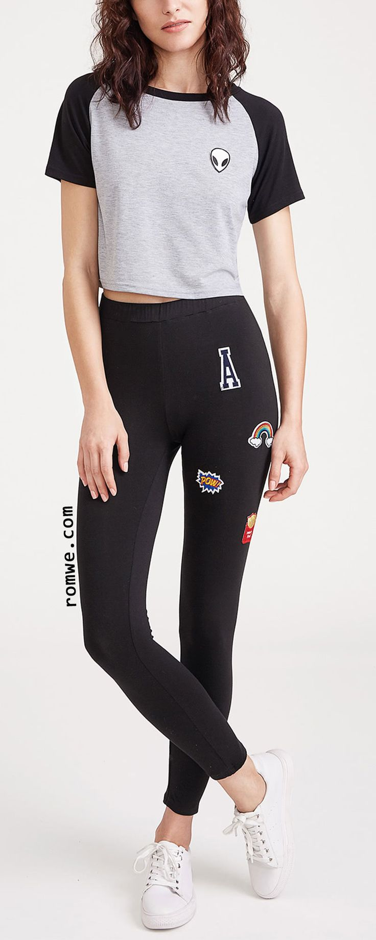 Black Embroidered Patch Applique Leggings