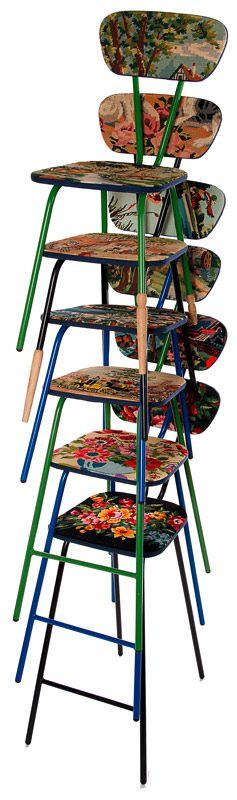 Vielles chaises d'école, idée pour cuisine