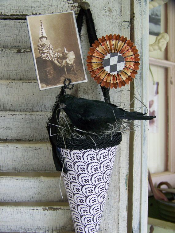 Handmade Halloween Decoration Altered Victorian Paper By