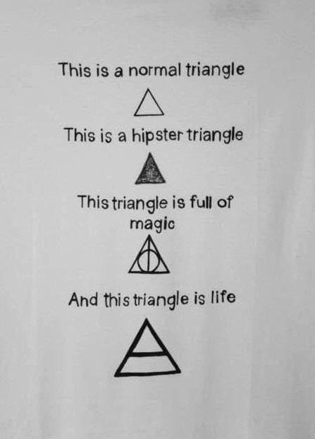 Triangles are totally my favorite shapes! (I love these references to Harry Potter and MARS.)