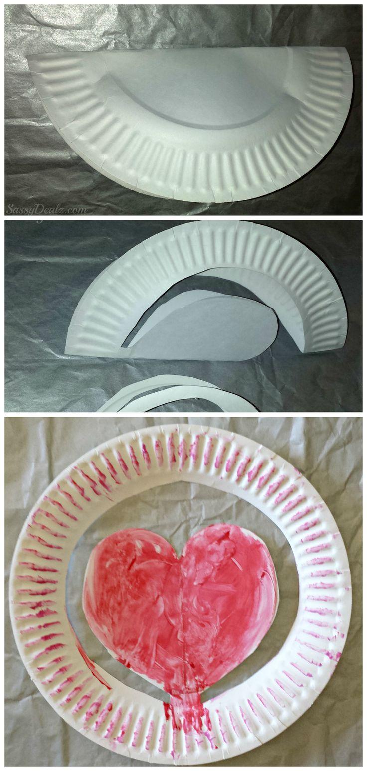 paper plate heart craft