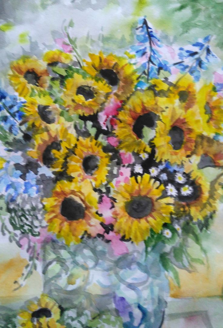 Sunflower Painting, Nature art,  Watercolor Sunflowers, Watercolor Flowers, Watercolor Painting, Original Painting, Hand painted, still life