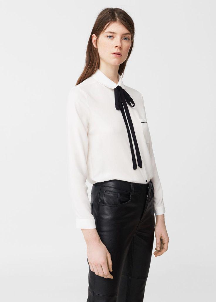 Рубашка с лентой | MANGO МАНГО