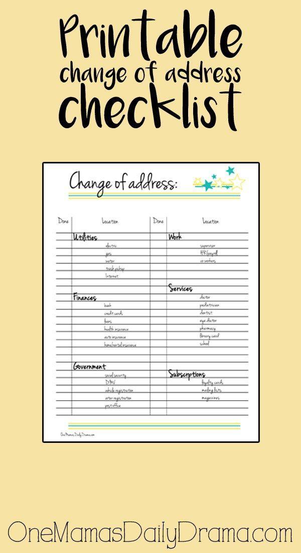 Printable Change Of Address Checklist Moving Checklist Printable Change Address Checklist Change Of Address