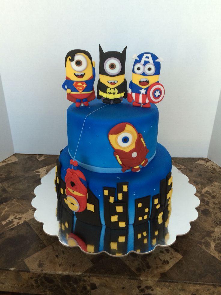 Super Hero Minion Cake by Cake Art by Selina 1-24-15 #CakeArtBySelina