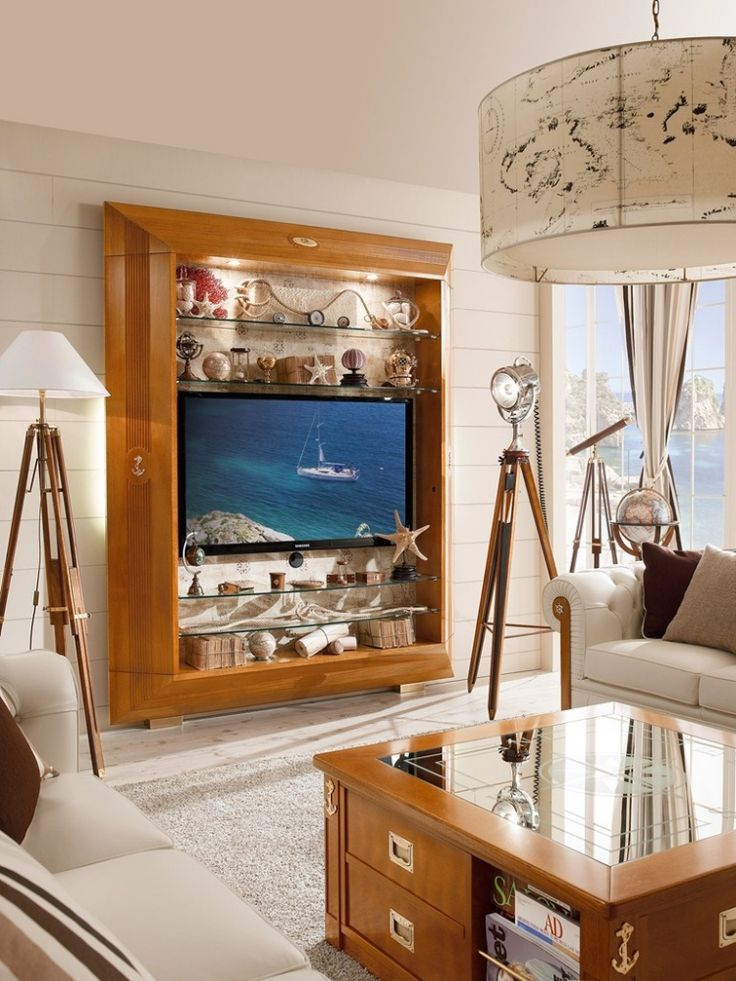 Wohnwand Aus Massivholz Mit Glas Regalen Frame Von Caroti