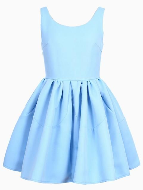 Sleeveless Skater Dress in Blue - Choies.com