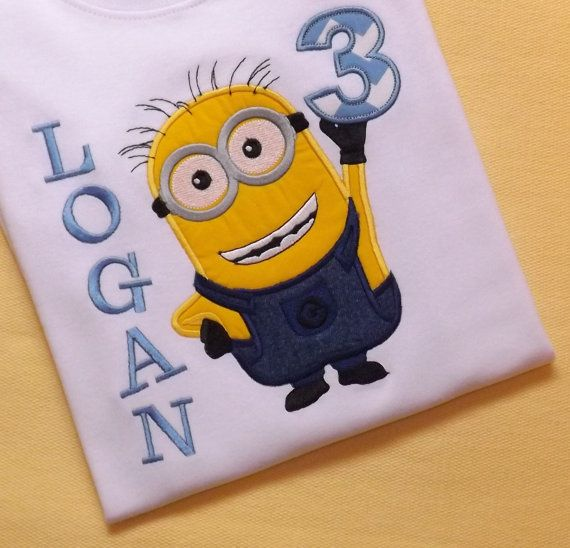 Minion Birthday T-Shirt or Bodysuit by TextileTransitions on Etsy