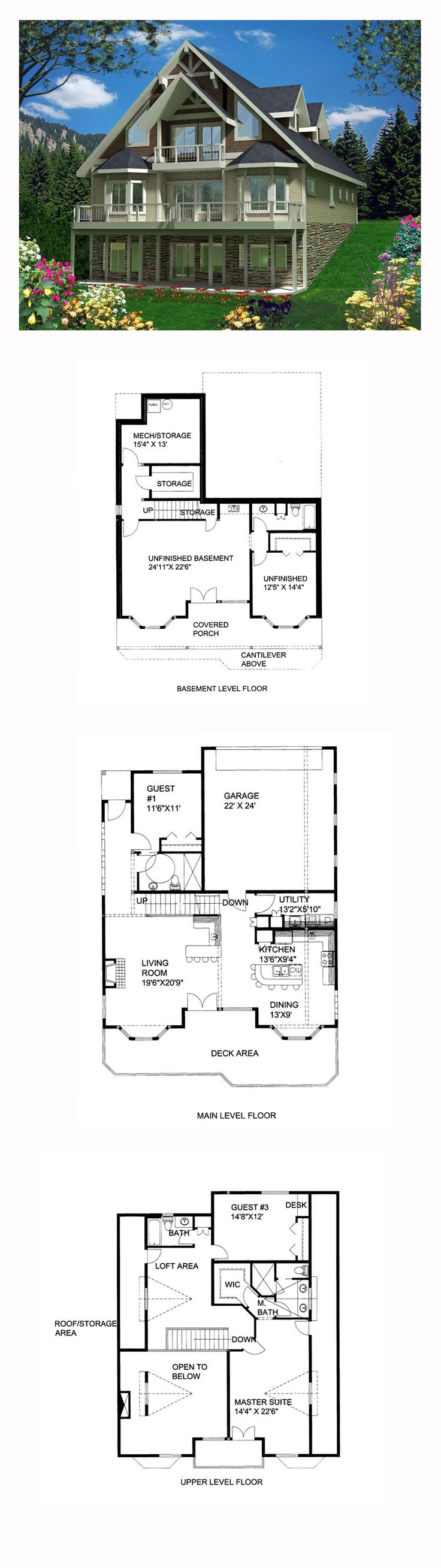 Hillside House Plan 85365 | Total Living Area: 2354 Sq. Ft., 3