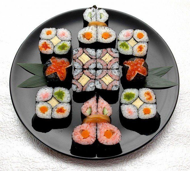 http://sushiacademy.cocolog-nifty.com/  Kazari-zushi (kazari meaning decoration) includes nigiri-zushi (traditional sushi), oshizushi (pressed boxed sushi) and chirashi-zushi (sushi rice in a bowl with ingredients sprinkled over top). This kind of sushi is crafted with a motif designed around Japanese patterns and nature, varying by the season and the event. Crafted makizushi, in particular, are called kazari-makizushi.