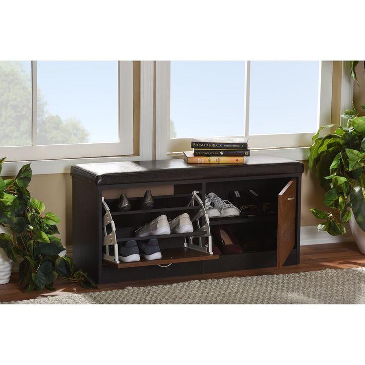 baxton studio foley modern 2tone dark brown oak finish entryway storage cushion bench