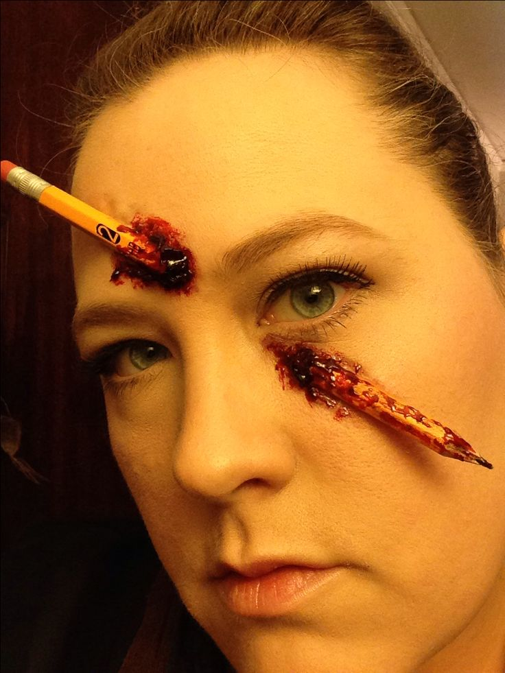"""Marissa's Makeup looks for 2013. I call this one """"Ouch"""". It's a real broken pencil, liquid latex,  thick blood."""