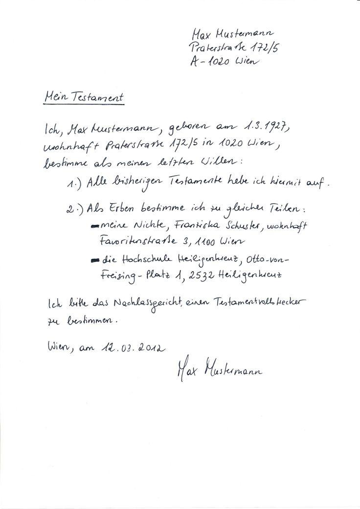 Handschriftliches Testament Vorlage In 2020 Vorlagen Bewerbung Schreiben Entschuldigung Schreiben
