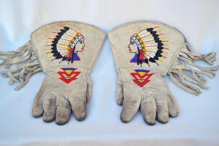 Indian Beaded Buffalo Bill Wild West Show Gauntlet Gloves