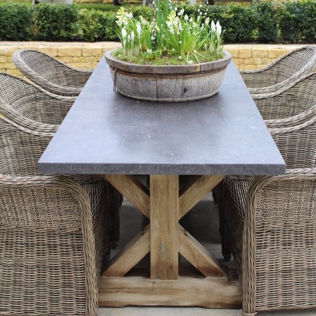 Hand Crafted Oak Table with Belgian Blue Stone Tops