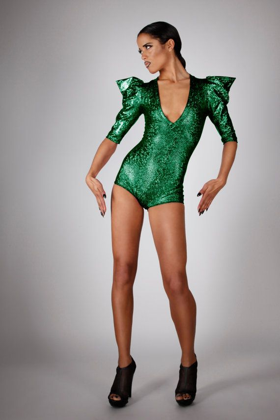 Signature Bodysuit in Green Hologram, Sexy Halloween Costume, Holographic Disco Romper, Futuristic Stage Outfit, Poison Ivy, by LENA QUIST