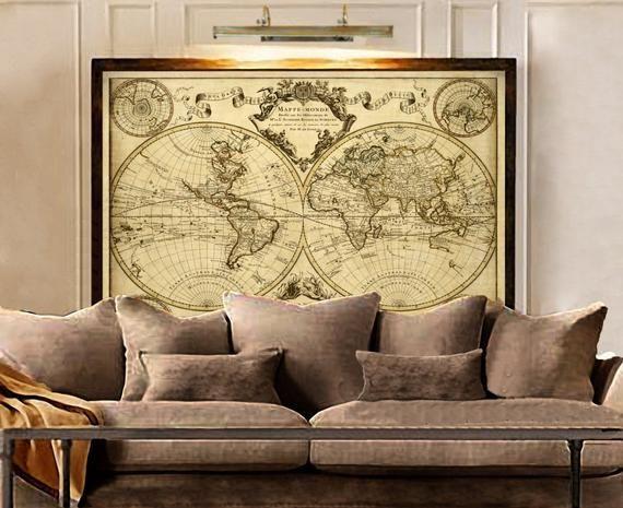 1720 Old World Mapworld Map Wall Art Historic Map Antique Etsy Map Wall Art Old World Maps Travel Wall Decor