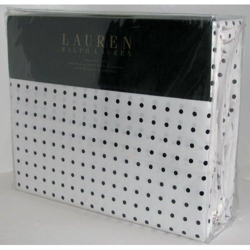 Amazon.com: Lauren Ralph Lauren Sheet Set Twin Black White Polka Dots: Home & Kitchen