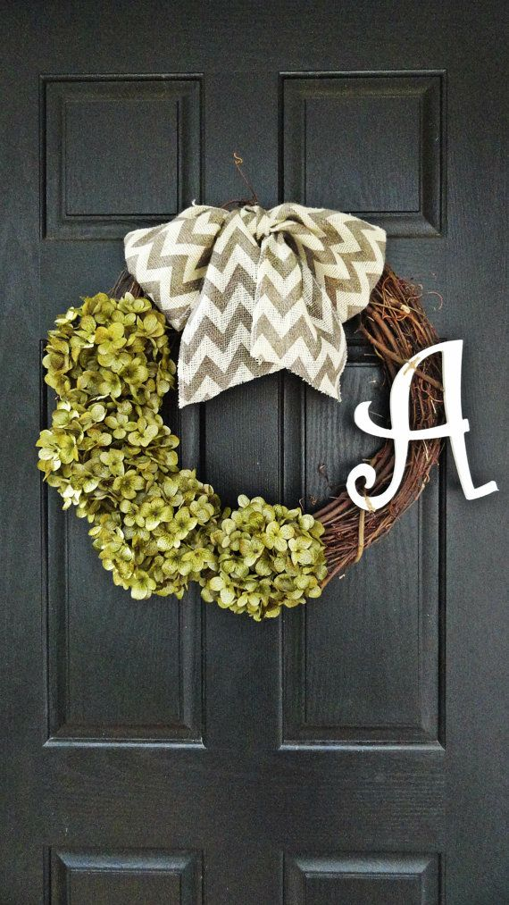 Year Round Hydrangea and Chevron Burlap Wreath, With Curly White Monogram Initial, Fall Burlap Wreath, Wreath With Monogram