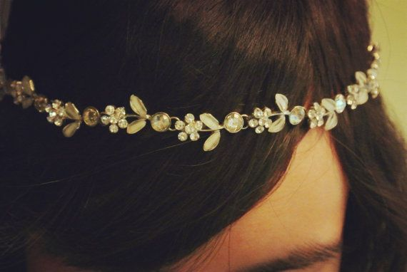 bridal headband bridal headpiece bridal hair accessories vintage crystal flower headband