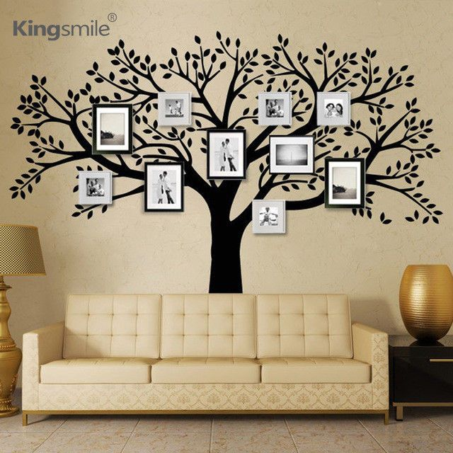 Enorme Famille Photos Arbre Vinyle Stickers Muraux Noir Arbre Branches Stickers Family Tree Wall Sticker Tree Wall Decal Family Tree Decal