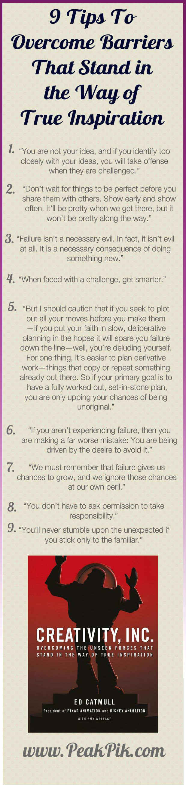 Daily Tips And Motivation | Creativity, Inc.: Overcoming the Unseen Forces That Stand in the Way of True Inspiration Hardcover by Ed Catmull