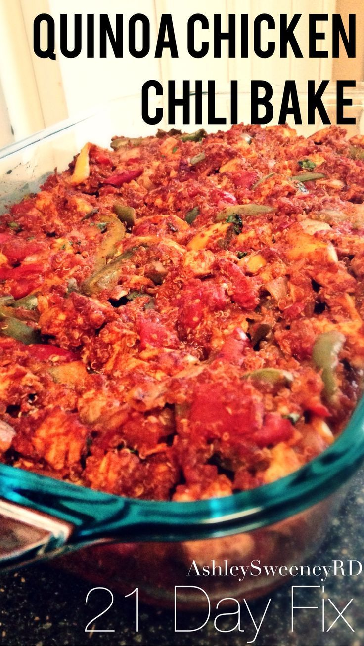 Quinoa Chicken Chili Bake 21 Day Fix Extreme Approved Recipe 1 servings = 1 red, 1 green, 1/2 yellow, 1/2 blue, 1 tsp :)