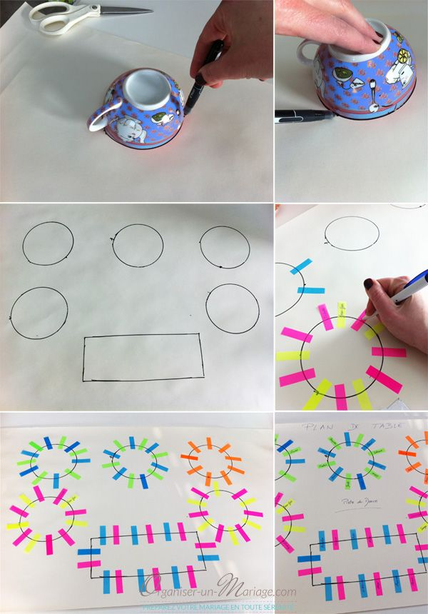 Créer un plan de table facilement avec des post-it pour pouvoir repositionner autant de fois que vous voulez vos invités